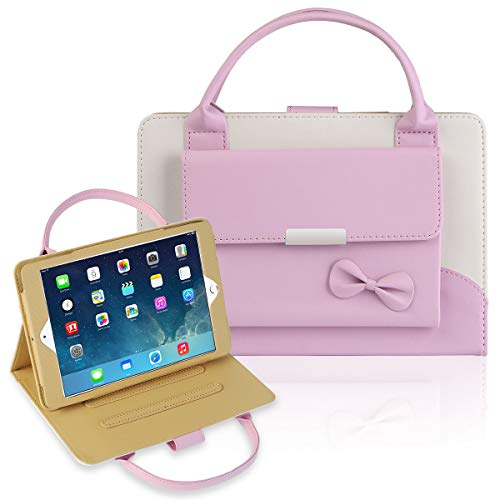 IPad Mini 1/2/3/4 Case,Gemwon Lovely Handbag for Kids,Synthetic Leather Magnetic Stand Cover with Auto Sleep/Wake Function for IPad Mini 1 Mini 2 Mini 3 Mini 4 - Pink ()