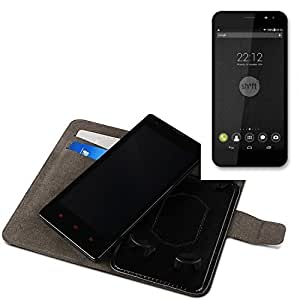 Funda para el Shift Shift5+, Walletcase hecho de cuero sintético en negro, monocromático y simple. Bolsillo para el teléfono móvil con ranuras para tarjetas de crédito y la función del soporte. BookStyle bisagras de la manga para los teléfonos inteligentes. A prueba de golpes del caso, la piel suave cubierta del teléfono móvil funda protectora. Protección integral robusta premium Case Flipstyle | envío de Alemania en un día laborable