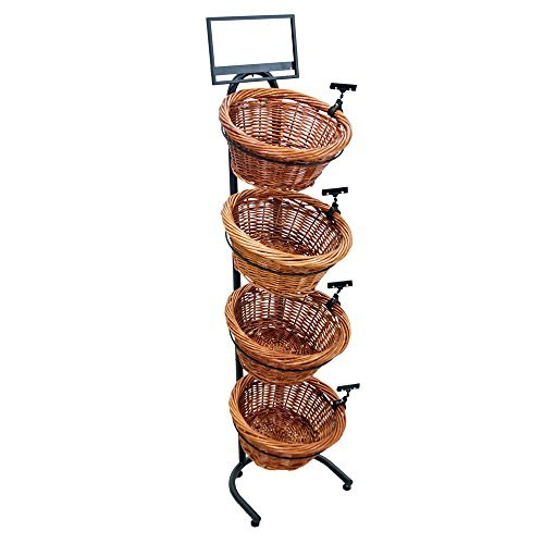 4-Tier 4 Round Willow Basket Display with Sign Frame and Sign Clips (Wire Packet Rack)