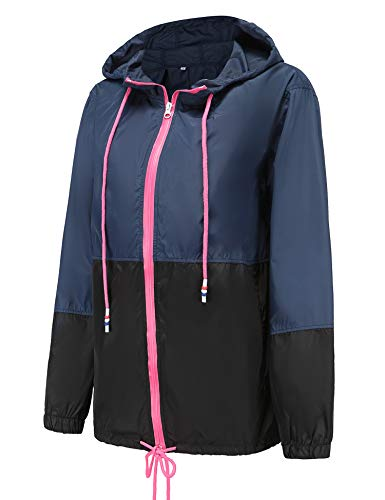 LOMON Lightweight Rain Jacket Women Waterproof Windbreaker Hooded Outdoor Hiking Raincoat Navy Blue S