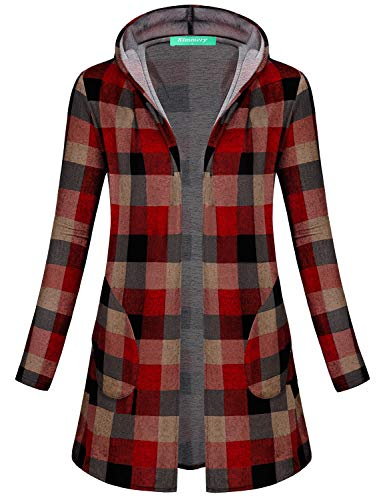 Kimmery Hooded Cardigan Women, Ladies Causal Plaid Print Shirts Fall Long Sleeve Side Pockets Soft Feel Open Front Flyaway Hemline Sun Protection Red Checked Plus Loose Long Knit Coat XXL