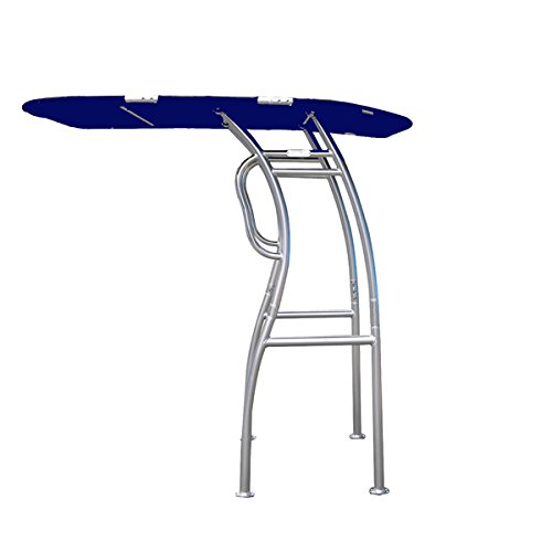 Dolphin Pro S2 T-TOP ✮ Folding Center Console Fishing Boat Tower Bimini Canopy, Marine Anodized Aluminum, Collapsible TTOP, Centre Fold Down Shade Roof (Anodized - Navy Blue)