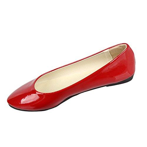 Faux Danse L'Automne Casual Chaussures Rouge Minetom Élégant Cuir Printemps Femmes Été Chaussures Plates vAWqEZxw