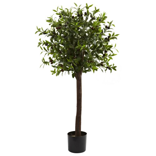 Nearly Natural 5411 Olive Topiary Silk Tree, 4-Feet, Green (4' Olive)