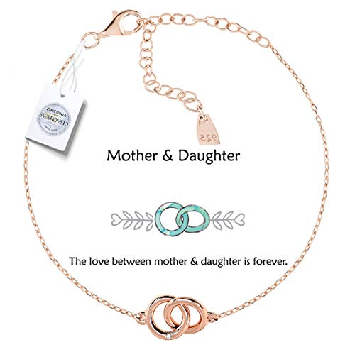 Vivid&Keith Womens Girls 925 Real Sterling Silver 18K Plated Swarovski Zirconia Cute Adjustable Gift Fashion Jewelry Link Chain Charm Pendant Bangle Bracelet, Mother & Daughter, Rose Gold - Gold Rose Bezel 18k