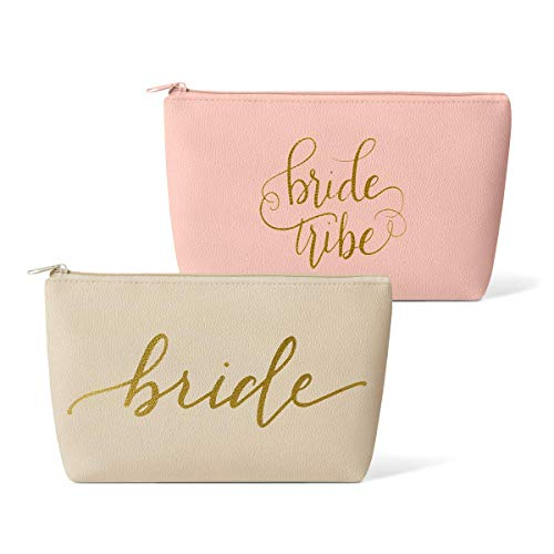 Bridal Party + Bride Makeup Bags - Leather Cosmetic Bags for Bachelorette Parties, Weddings, Bridal Showers (11 Piece Set, Pink Blush - Bride Tribe)