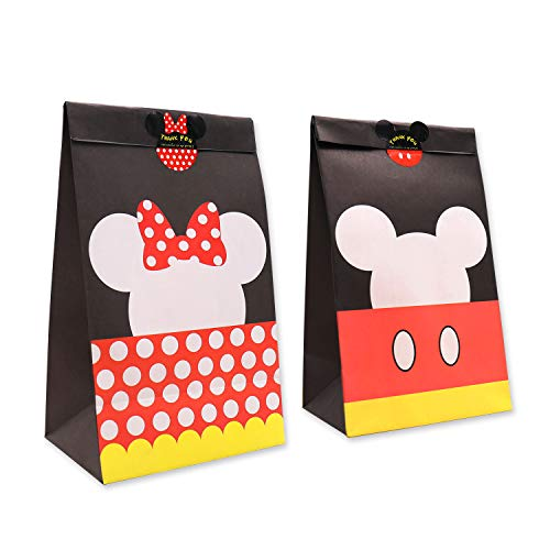 Goodie Candy Treat Bags Birthday Mickey Minnie Inspired Party Favor Supplies Set of 24,with Thank You Stickers -