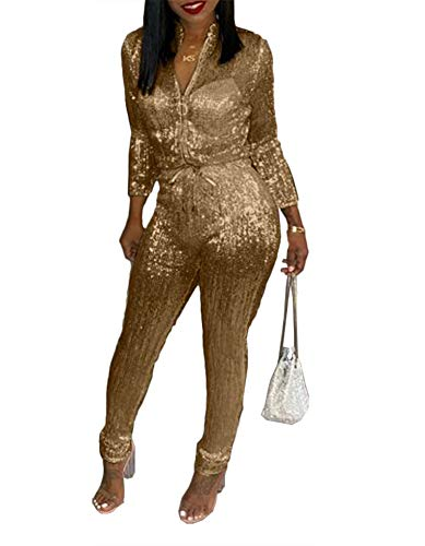 (Remelon Womens Sexy V Neck Glitter Long Sleeve Zipper Drawstring Bodycon High Waisted One Piece Jumpsuits Rompers Gold L)