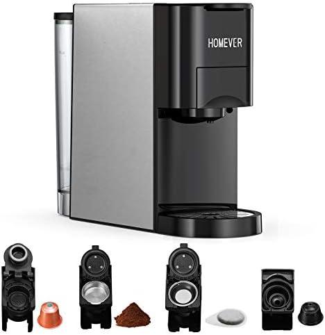 Macchina da caffè multi capsule Homever 4 in 1, adatta per capsule di caffè grandi/piccole, capsule di tè e polvere di caffè, 19 bar, acciaio inossidabile