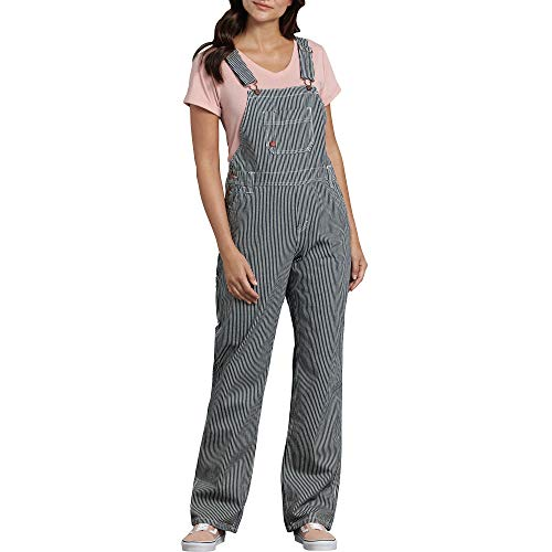 - Dickies Women's Bib Overall 100% Cotton Denim with ScuffGard, Rinsed Hickory Stripe, Small