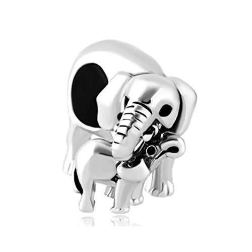 Mother Daughter Charm (ReisJewelry Cute Elephant Mother Daughter Charms Animal Bead For Bracelet (Mother Daughter Elephant))