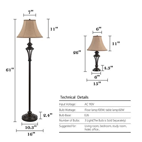 3 Pack Lamp Set (2 Table Lamps, 1 Floor Lamp), 3-Piece Vintage Style Table and Floor Lamp Set in Bronze Finish with Brown Fabric Lamp Shades, 26'' and 61''(H), Solid Iron by Smeike (Image #1)