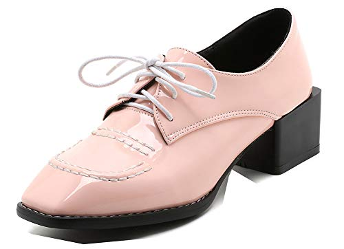 Travail Femme Lacets pour Chaussures Rétro Bout Derbies à Rose Carré Aisun O16Wqg6
