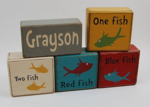 Personalized Name One Fish-Two Fish-Red Fish-Blue Primitive Country Wood Stacking Sign Blocks Dr. Suess-Chuncky Blocks- Kids Nursery Room-Birthday-Baby Shower (Dr Seuss Signs)
