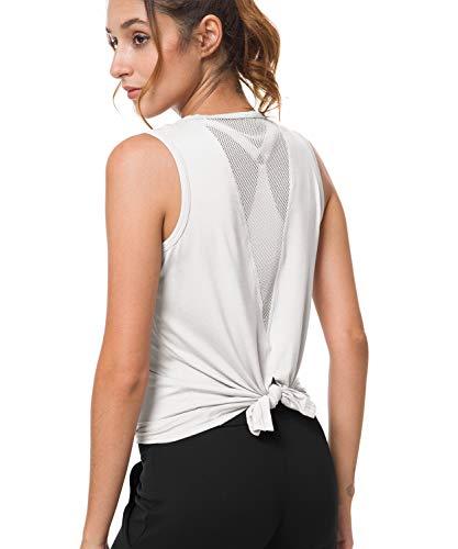 Balleay Art Womens Cute Mesh Yoga Workout Shirts Activewear Sexy Open Back Sports Tank Tops