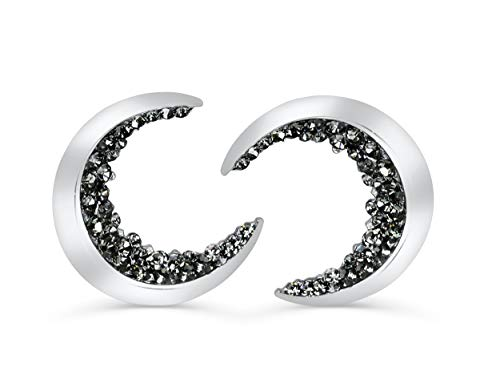 (ONDAISY 20G 14K Rhodium Plated Black Cz Boho Gypsy Planet Half Sun Crescent Sailor Luna Moon Ear Studs Piercing Earrings)
