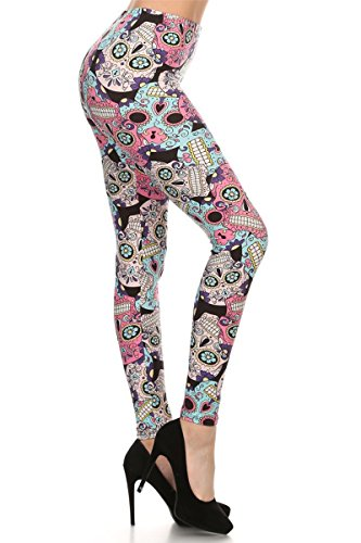 Leggings Depot Ultra Soft Women's Popular Best Printed Fashion Leggings Batch17 (Plus (Size 12-24), Sugar Skull)
