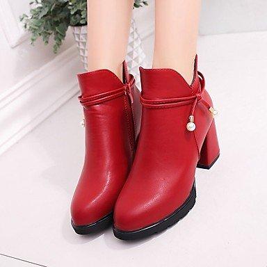 Heart&M Mujer Zapatos PU Otoño Botas de Moda Botas Tacón Robusto Dedo redondo Cremallera Para Casual Negro Rojo red