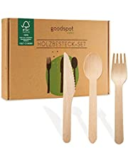 goodspot® Premium träbestick set 200 stycken FSC-certifierade (100 trägafflar, 50 träskedar, 50 träknivar-träbestick) engångsbestick komposterbara i återförslutningsbar kartonglåda