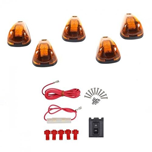 Partsam 5x Cab Roof Running marker Amber Light w/Amber 9-LED in for 1999-2016 Ford E/F+wiring Pack (Cab Lights With Wiring compare prices)