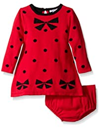 Baby-Girls Intarsia Bow Dot Pattern Sweater Dress Diaper Cover Set
