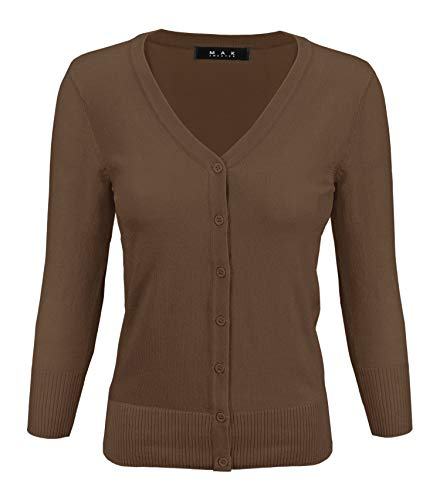 YEMAK Women's 3/4 Sleeve V-Neck Button Down Knit Cardigan Sweater CO078-Cocoa-S