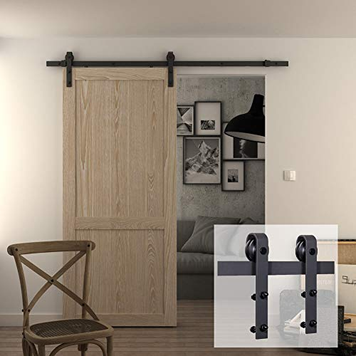 One Piece Door Panel - JUBEST 6.6 FT Basic Heavy Duty Sliding Barn Door Hardware Kit, One-Piece Rail, Fit 36
