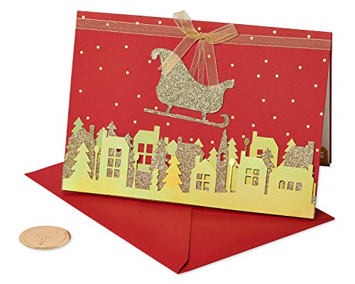 Papyrus Christmas Cards Boxed, Gold Glitter Holiday Sleigh (8-Count)