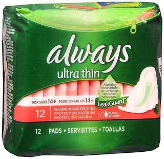Always Ultra Thin Pads with Flexi-Wings Extra Heavy Day - 14 ct, Pack of 6