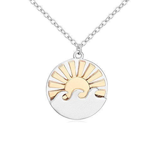 (MANZHEN Two-Tone Waves with Sun Sunrise Ocean Wave Pendant Necklace)