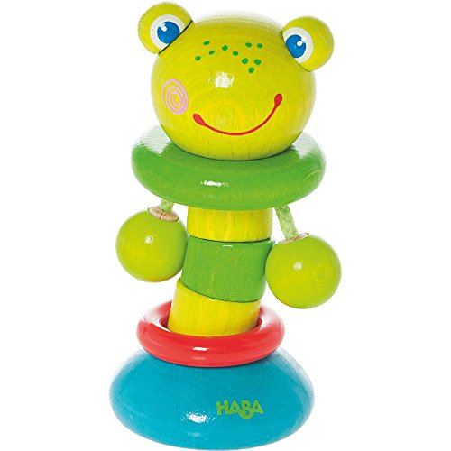 HABA Clutching Toy Clatter Frog Wooden Rattling Figure (Made in Germany) by HABA