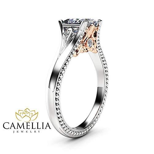 (Princess Moissanite Vintage Promise Ring 14K Two Tone Gold Engagement)