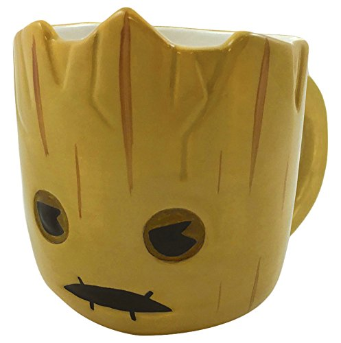 ICUP Marvel - Guardians Of The Galaxy Groot Kawaii  3-D Molded Head Ceramic Mug In Gift Box (Pot Flower Coffee Cup)