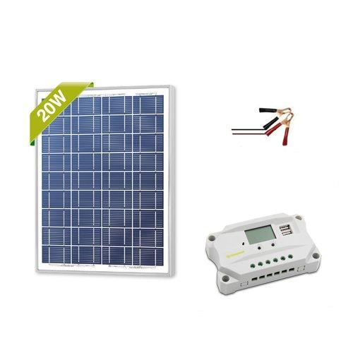 Newpowa 20w Watt 12v Solar Panel + PWM 10a 12v Smart Charging Controller Regulator