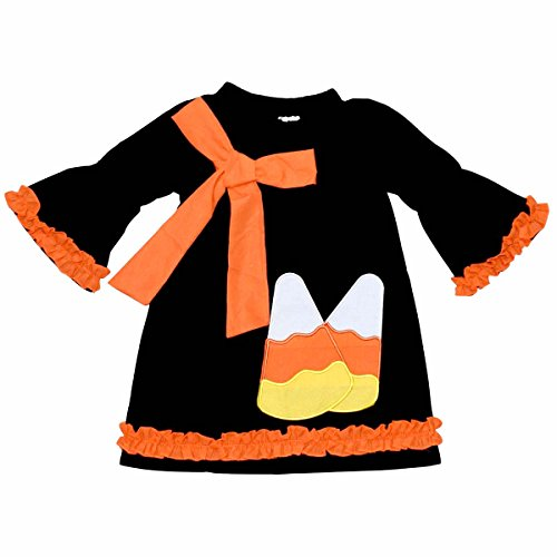 Halloween Dresses For Toddlers (Unique Baby Girls Candy Corn Halloween Dress with Bow (4T/M, Black))