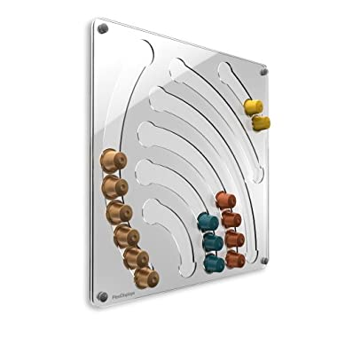 Wall Capsule Holder For Nespresso Capsules – Made Of Durable Hard Plexi-Glass With Transparent Waterfall Design – Nesspresso Coffee Capsule Wall Hanging Decorative Holder By Plexidisplays