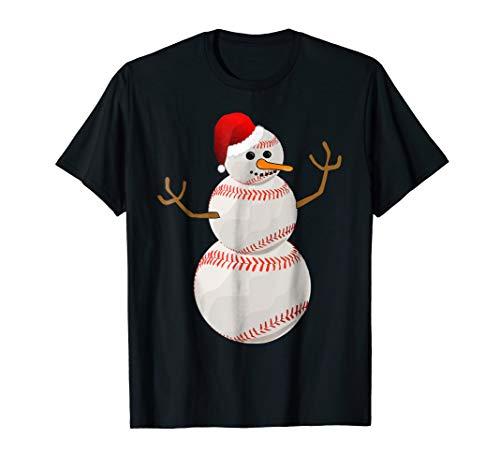 Snowman Baseball Santa Claus Funny Christmas T-Shirt Gift]()