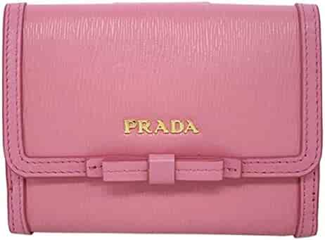 58bab4912ac3ca Prada Vitello Move Leather Geranio Pink Coin Purse Bi-fold Bow Wallet 1MH523