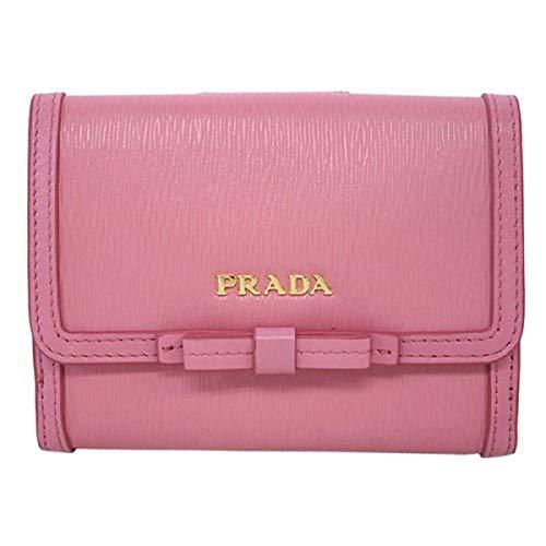 Prada Vitello Move Leather Geranio Pink Coin Purse Bi-fold Bow Wallet ()