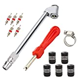 Senzeal L Shape Heavy Duty Dual Head Tire Inflator Service Tire Pressure Gauge Dual Head Air Chuck for Tire Inflator with Valve Caps and Valve Cores Removal Tool