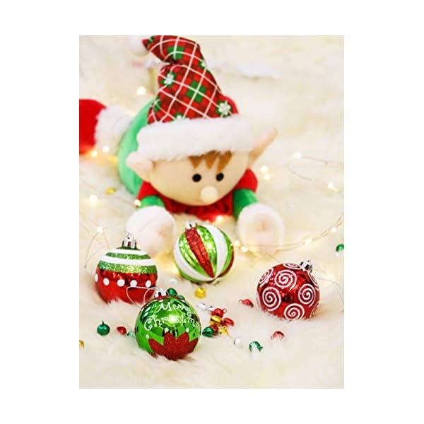 Victor's Workshop Addobbi Natalizi 9 Pezzi 6cm Palle di Natale, Delightful Elf Red Green And White Infrangibile Palla di Natale Ornamenti Decorazione per L'Albero di Natale 7 spesavip