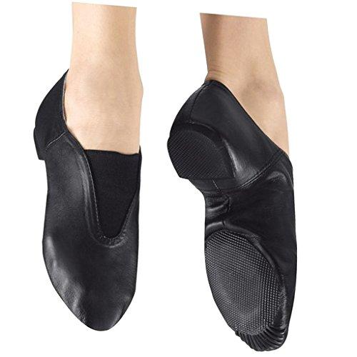 Homme Femme Chaussons de Jazz Cuir Souple à Semelle Partagée Caoutchouc Chaussures Danse Sneakers Noir