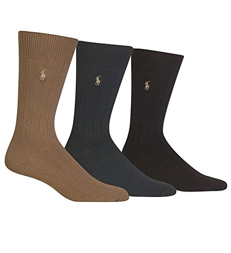 Polo Ralph Lauren Men's 3-Pack Combed Cotton Ribbed Crew Socks