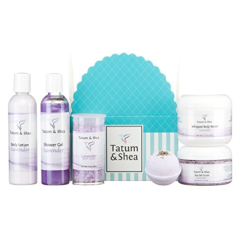 Spa Gift Set for Women :: Bath Soak, Body Lotion, Bath Bomb, Shower Gel, Whipped Body Butter & Sea Salt Scrub :: 6 Items, Gift Boxed, Handcrafted in USA, Lavender by Tatum & Shea