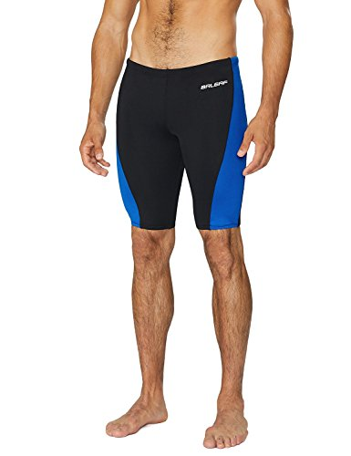 Baleaf Men's Durable Training Polyester Jammer Swimsuit Black/Blue Size 34 by Baleaf