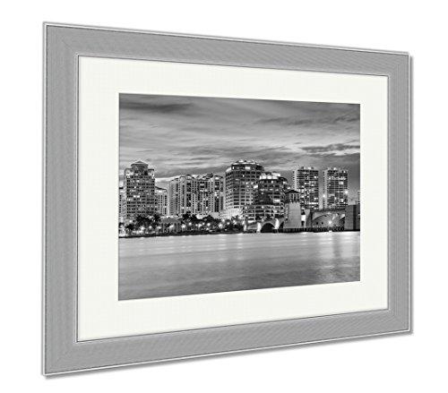 Ashley Framed Prints West Palm Beach Florida USA Downtown Skyline Travel Architecture City, Wall Art Home Decoration, Black/White, 34x40 (frame size), Silver Frame, - Palm Beach City Place Fl West
