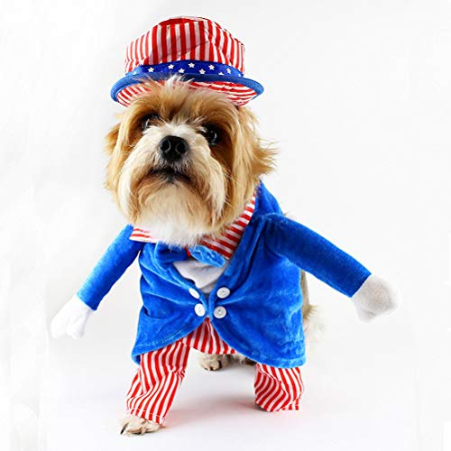 Yu-Xiang Uncle Sam Costume 4th of July Flag Costumes Hat for Dog and Cat Fake Arms Dog Costume (M)