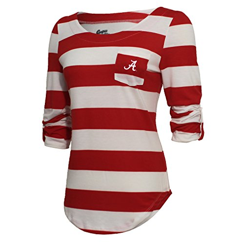 NCAA Alabama Crimson Tide Women's Campus Specialties Striped 3/4 Sleeve Tee, Cardinal/White, XX-Large