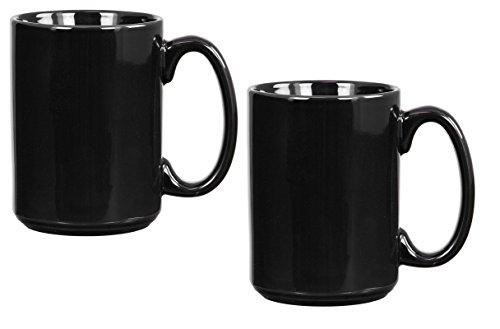 El Grande Style Large Ceramic Coffee Mug With Big Handle, Black 15 oz. (Pack of 2)