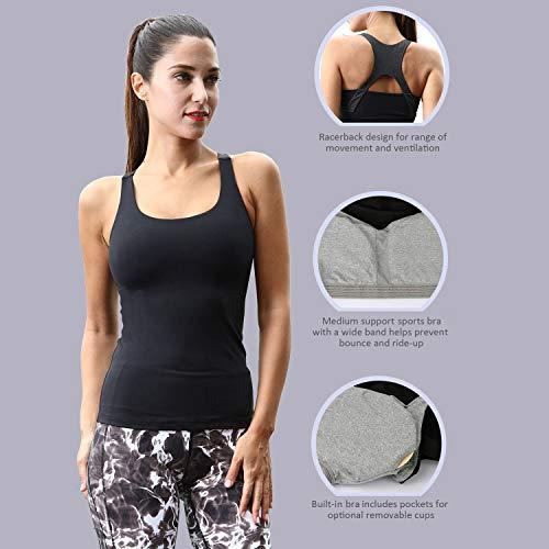 cc64b21b278 Matymats Women's Yoga Tank Top Built in Shelf Bra Sleeveless Running Workout  T-Shirt Dry